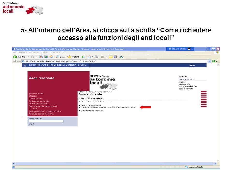 5- Allinterno dellArea, si clicca sulla scritta Come richiedere accesso alle funzioni degli enti locali
