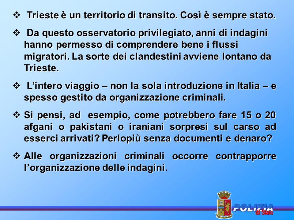 NEL 1997 la Procura della Repubblica di Trieste costituisce il Gruppo di Lavoro per il contrasto dellimmigrazione clandestina.