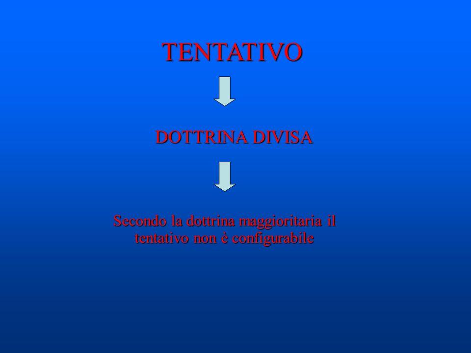 TENTATIVO DOTTRINA DIVISA Secondo la dottrina maggioritaria il tentativo non è configurabile