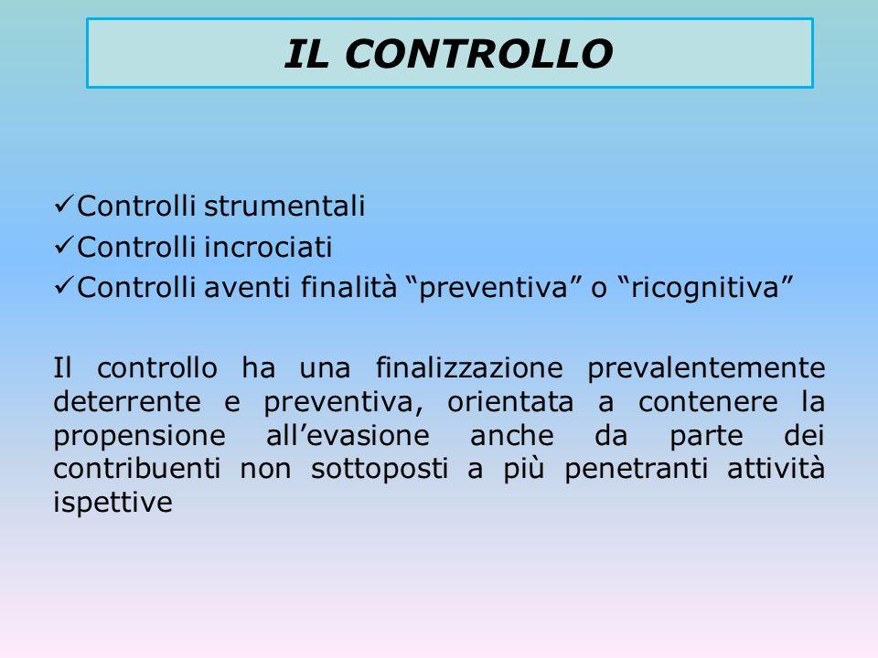 Controlli strumentali Controlli incrociati Controlli aventi finalità preventiva o ricognitiva Il controllo ha una finalizzazione prevalentemente deter