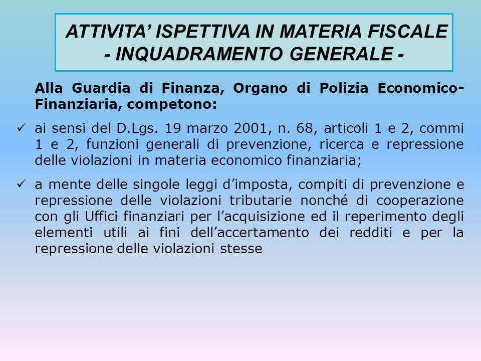 POTERI DI CONTROLLO GDF - ALTRI SETTORI IMPOSITIVI - POTERI IRAP D.lgs.