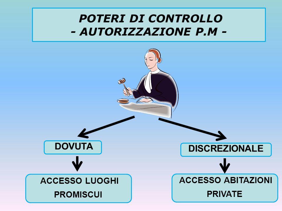 POTERI DI CONTROLLO - AUTORIZZAZIONE P.M - DOVUTA DISCREZIONALE ACCESSO LUOGHI PROMISCUI ACCESSO ABITAZIONI PRIVATE