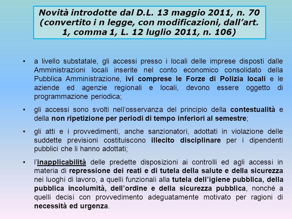 Novità introdotte dal D.L. 13 maggio 2011, n. 70 (convertito i n legge, con modificazioni, dallart. 1, comma 1, L. 12 luglio 2011, n. 106) a livello s