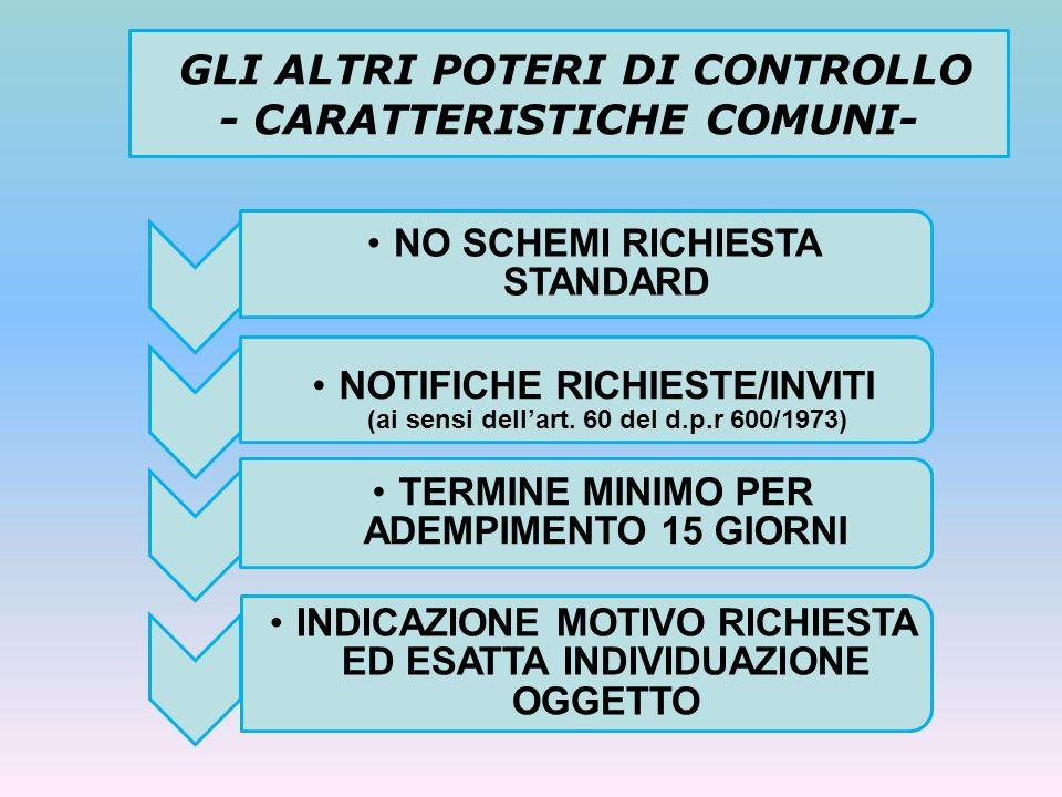 GLI ALTRI POTERI DI CONTROLLO - CARATTERISTICHE COMUNI- NO SCHEMI RICHIESTA STANDARD NOTIFICHE RICHIESTE/INVITI (ai sensi dellart. 60 del d.p.r 600/19