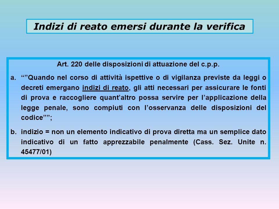 Indizi di reato emersi durante la verifica Art. 220 delle disposizioni di attuazione del c.p.p. a.Quando nel corso di attività ispettive o di vigilanz