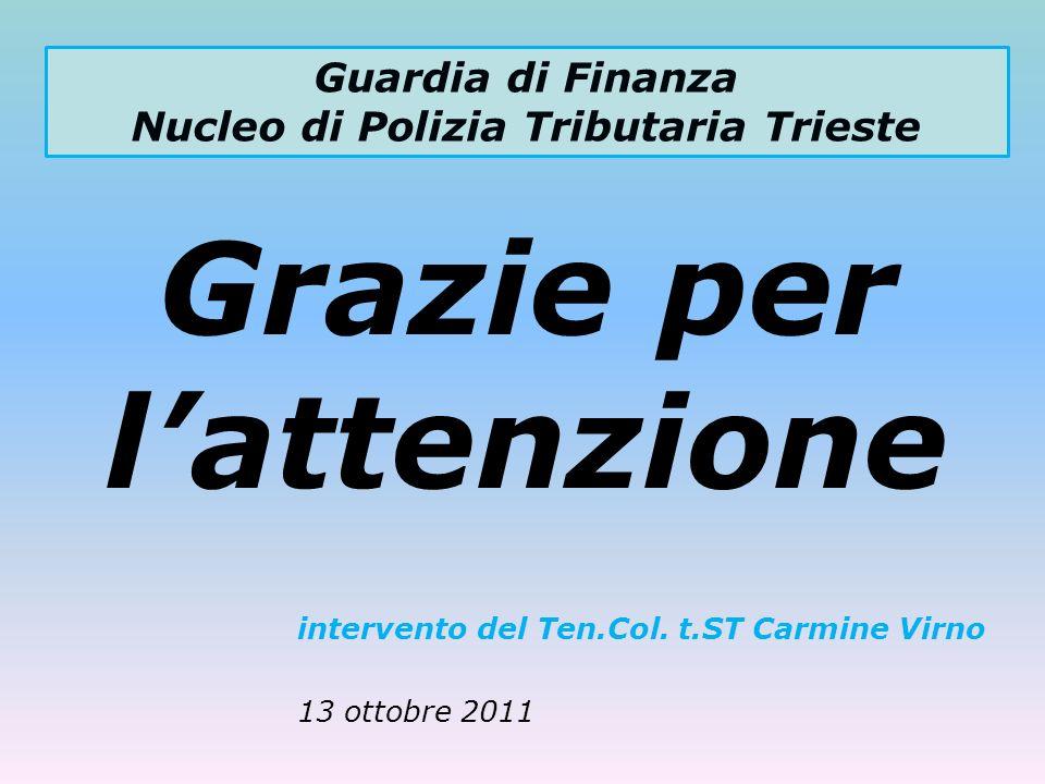Guardia di Finanza Nucleo di Polizia Tributaria Trieste Grazie per lattenzione intervento del Ten.Col. t.ST Carmine Virno 13 ottobre 2011