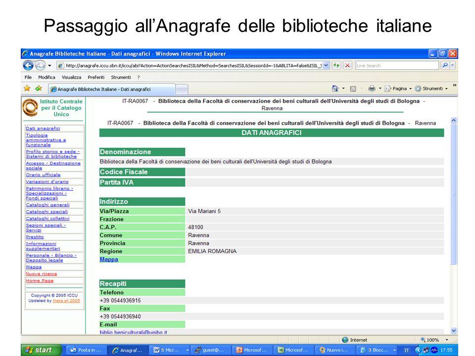 Passaggio allAnagrafe delle biblioteche italiane