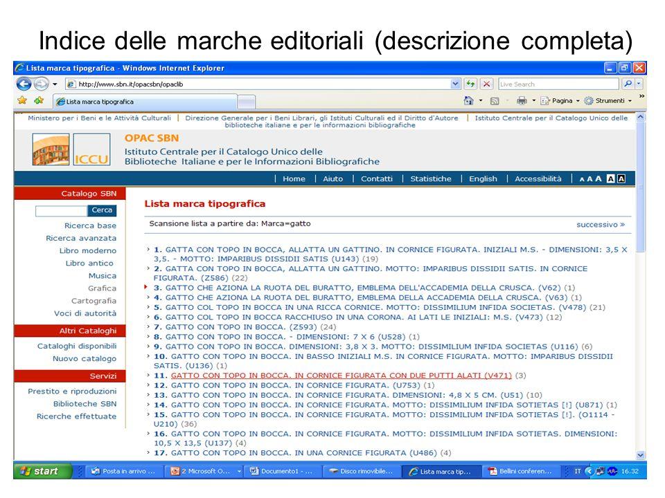 Indice delle marche editoriali (descrizione completa)