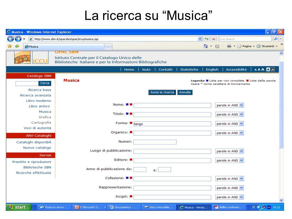 La ricerca su Musica
