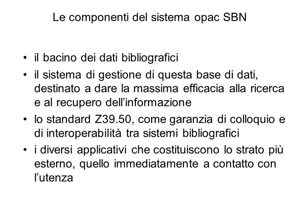 Le componenti del sistema opac SBN il bacino dei dati bibliografici il sistema di gestione di questa base di dati, destinato a dare la massima efficac