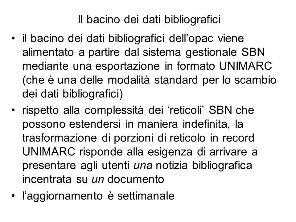 Il bacino dei dati bibliografici il bacino dei dati bibliografici dellopac viene alimentato a partire dal sistema gestionale SBN mediante una esportaz
