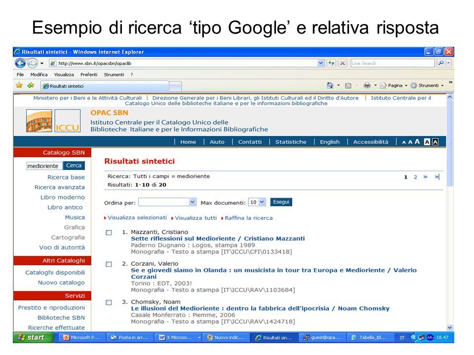 Esempio di ricerca tipo Google e relativa risposta