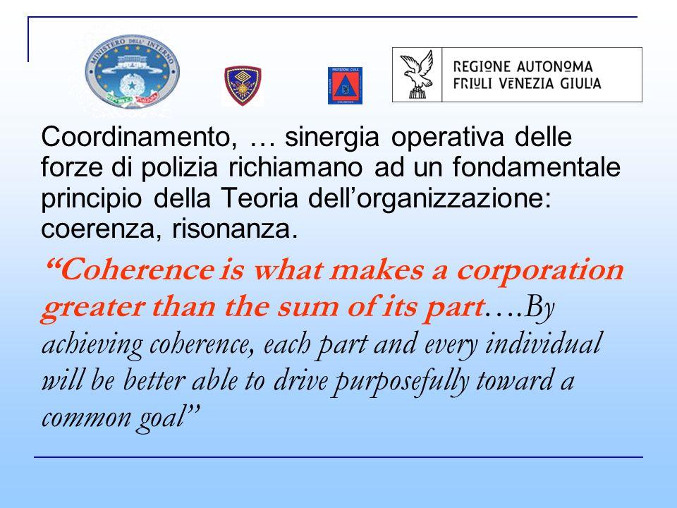 Coordinamento, … sinergia operativa delle forze di polizia richiamano ad un fondamentale principio della Teoria dellorganizzazione: coerenza, risonanza.