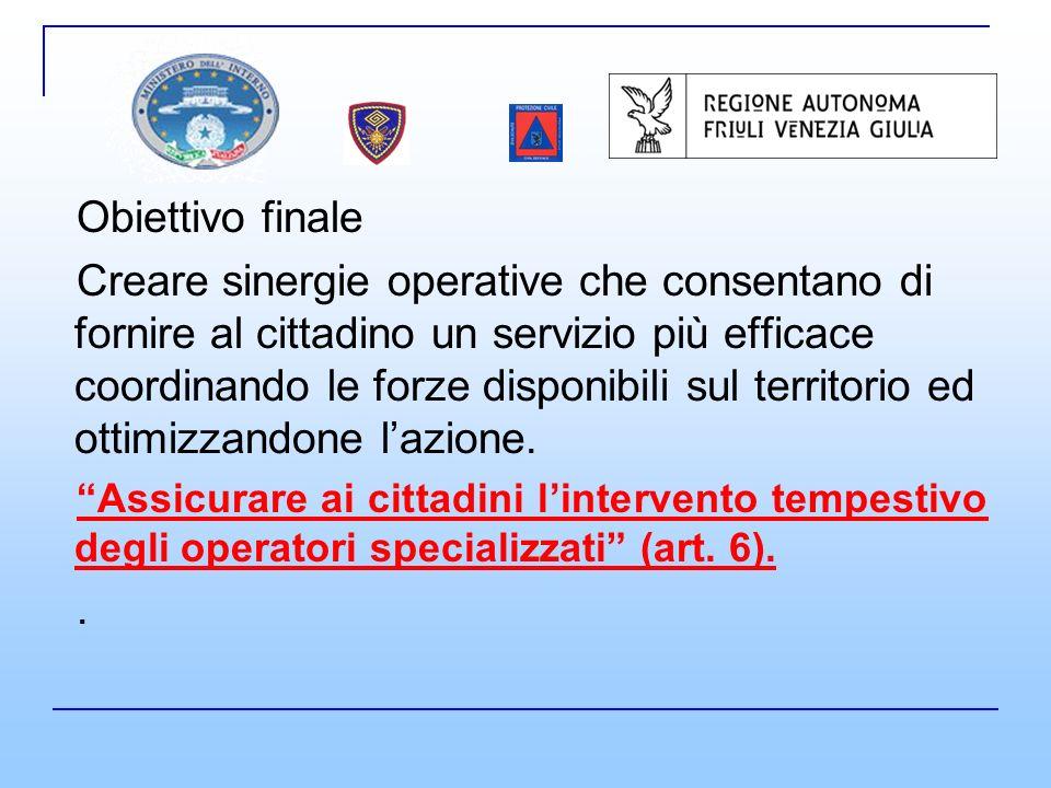 Obiettivo finale Creare sinergie operative che consentano di fornire al cittadino un servizio più efficace coordinando le forze disponibili sul territorio ed ottimizzandone lazione.