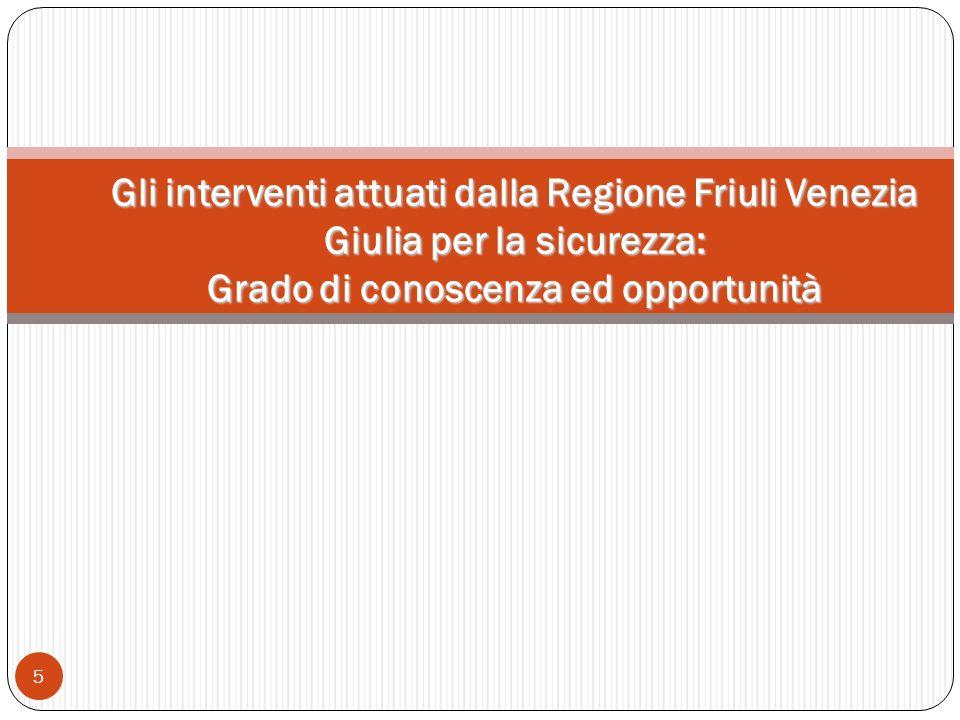 5 Gli interventi attuati dalla Regione Friuli Venezia Giulia per la sicurezza: Grado di conoscenza ed opportunità