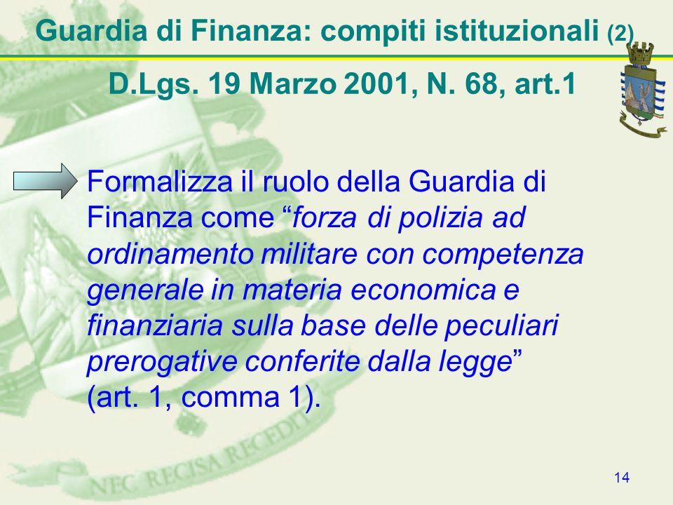 14 Formalizza il ruolo della Guardia di Finanza come forza di polizia ad ordinamento militare con competenza generale in materia economica e finanziar