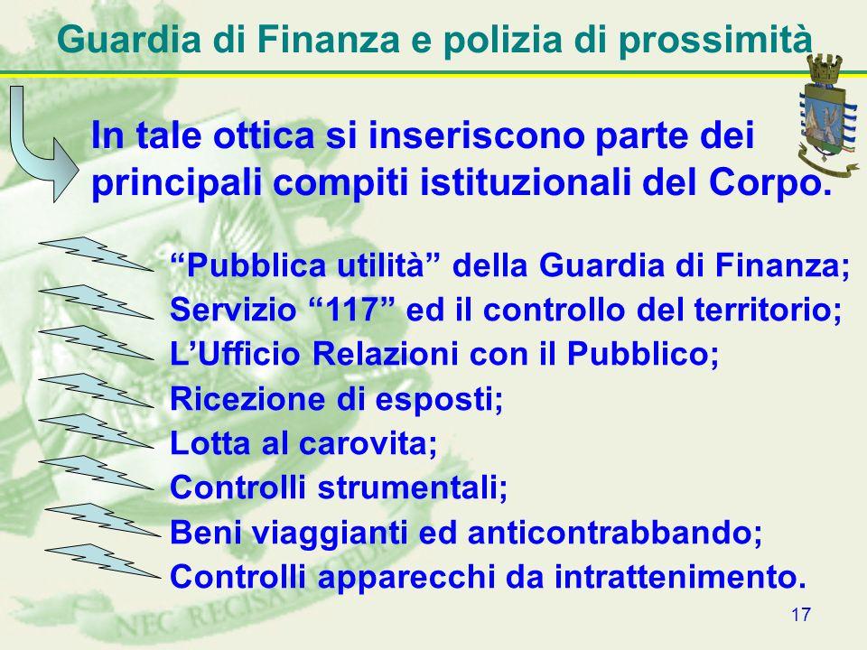 17 Guardia di Finanza e polizia di prossimità In tale ottica si inseriscono parte dei principali compiti istituzionali del Corpo. Pubblica utilità del