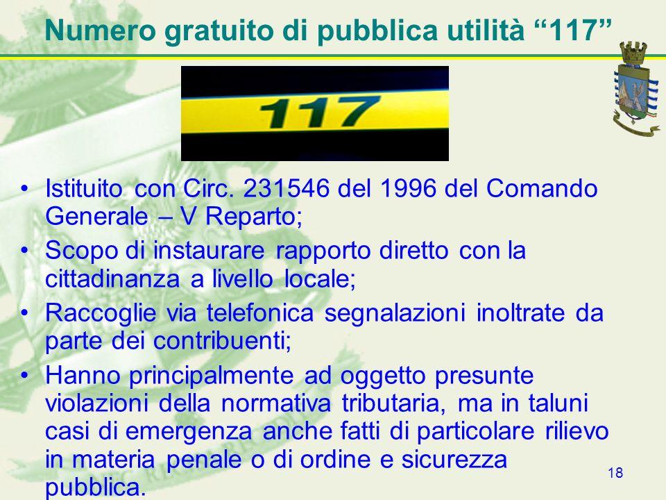 18 Numero gratuito di pubblica utilità 117 Istituito con Circ. 231546 del 1996 del Comando Generale – V Reparto; Scopo di instaurare rapporto diretto