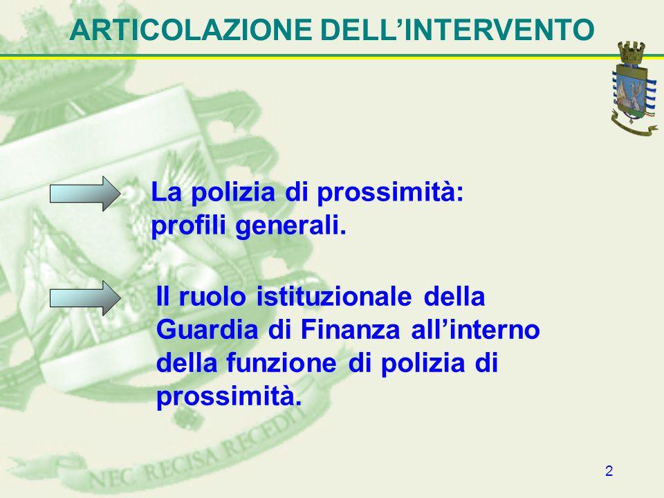 2 ARTICOLAZIONE DELLINTERVENTO La polizia di prossimità: profili generali. Il ruolo istituzionale della Guardia di Finanza allinterno della funzione d