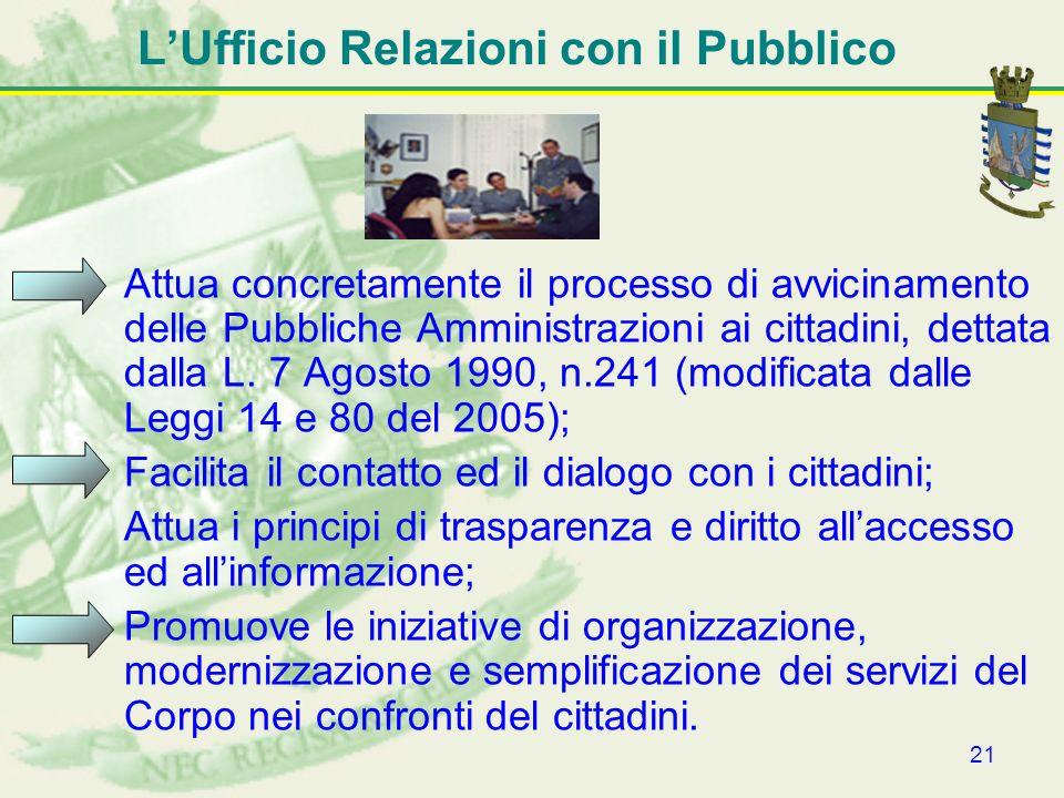 21 LUfficio Relazioni con il Pubblico Attua concretamente il processo di avvicinamento delle Pubbliche Amministrazioni ai cittadini, dettata dalla L.