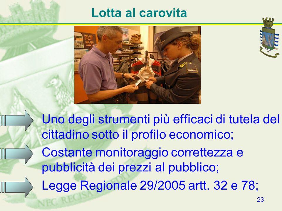 23 Lotta al carovita Uno degli strumenti più efficaci di tutela del cittadino sotto il profilo economico; Costante monitoraggio correttezza e pubblici