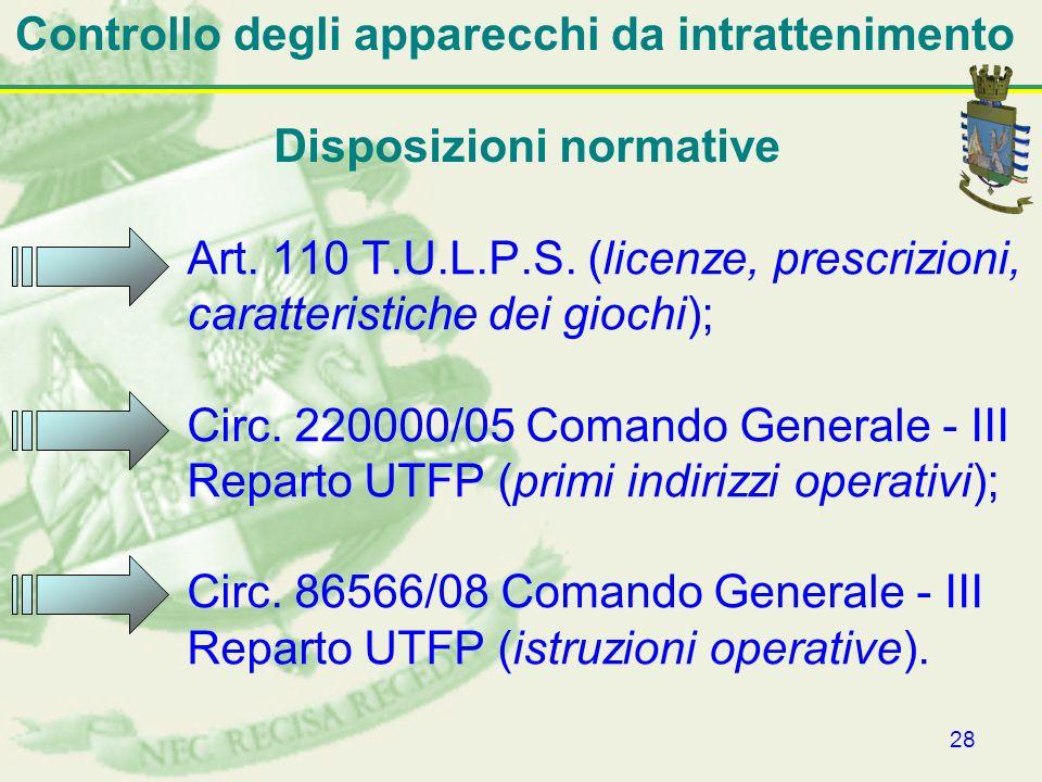 28 Controllo degli apparecchi da intrattenimento Art. 110 T.U.L.P.S. (licenze, prescrizioni, caratteristiche dei giochi); Circ. 220000/05 Comando Gene