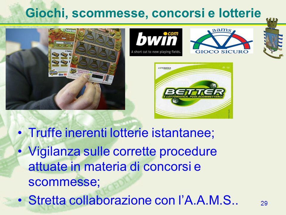 29 Giochi, scommesse, concorsi e lotterie Truffe inerenti lotterie istantanee; Vigilanza sulle corrette procedure attuate in materia di concorsi e sco
