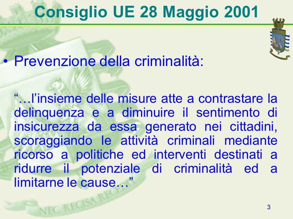 3 Consiglio UE 28 Maggio 2001 Prevenzione della criminalità: …linsieme delle misure atte a contrastare la delinquenza e a diminuire il sentimento di i