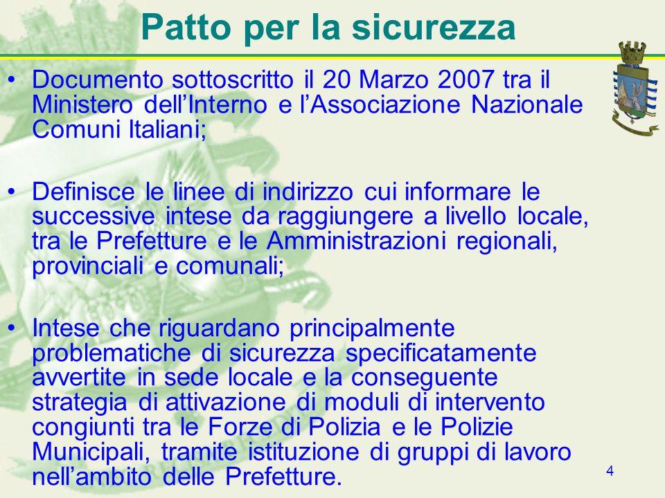 4 Patto per la sicurezza Documento sottoscritto il 20 Marzo 2007 tra il Ministero dellInterno e lAssociazione Nazionale Comuni Italiani; Definisce le