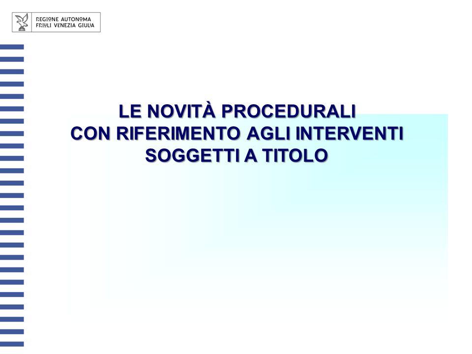 LE NOVITÀ PROCEDURALI CON RIFERIMENTO AGLI INTERVENTI SOGGETTI A TITOLO