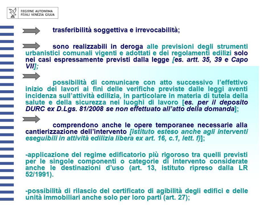 trasferibilità soggettiva e irrevocabilità; sono realizzabili in deroga alle previsioni degli strumenti urbanistici comunali vigenti e adottati e dei