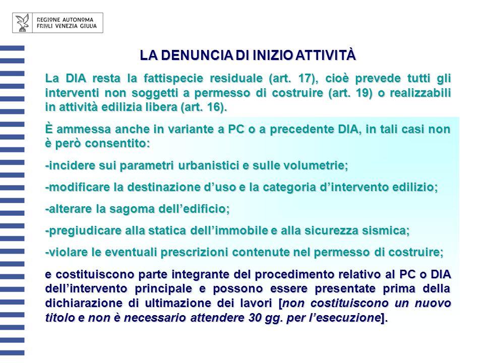 LA DENUNCIA DI INIZIO ATTIVITÀ La DIA resta la fattispecie residuale (art. 17), cioè prevede tutti gli interventi non soggetti a permesso di costruire
