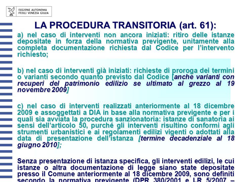 LA PROCEDURA TRANSITORIA (art. 61): a) nel caso di interventi non ancora iniziati: ritiro delle istanze depositate in forza della normativa previgente