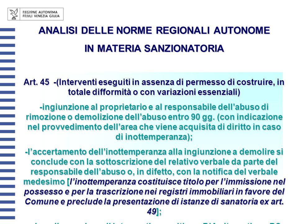 ANALISI DELLE NORME REGIONALI AUTONOME IN MATERIA SANZIONATORIA Art. 45-(Interventi eseguiti in assenza di permesso di costruire, in totale difformità