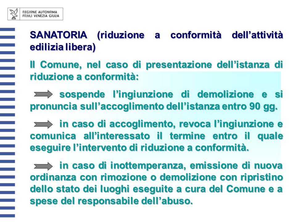 SANATORIA (riduzione a conformità dellattività edilizia libera) Il Comune, nel caso di presentazione dellistanza di riduzione a conformità: sospende l