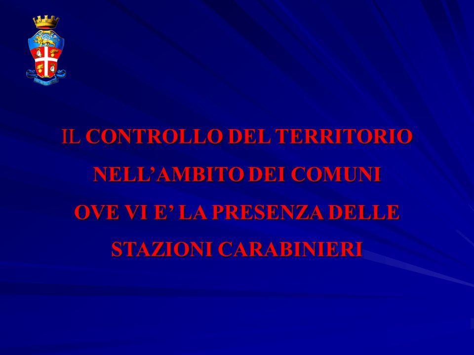 IL CONTROLLO DEL TERRITORIO NELLAMBITO DEI COMUNI OVE VI E LA PRESENZA DELLE STAZIONI CARABINIERI