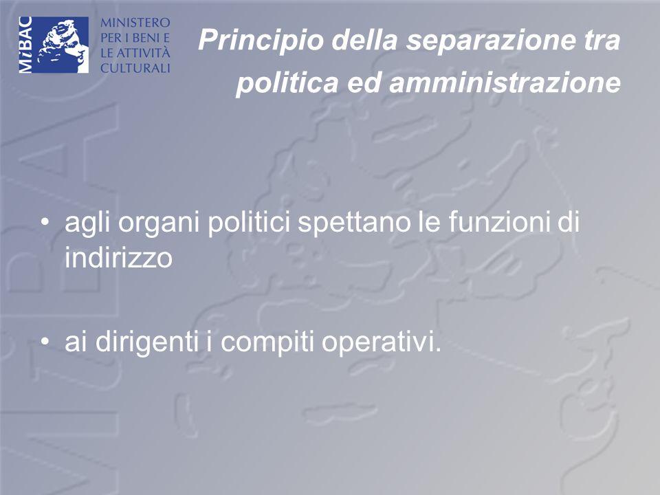 Principio della separazione tra politica ed amministrazione agli organi politici spettano le funzioni di indirizzo ai dirigenti i compiti operativi.