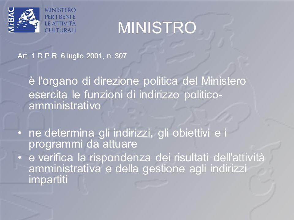 MINISTRO Art. 1 D.P.R. 6 luglio 2001, n. 307 è l'organo di direzione politica del Ministero esercita le funzioni di indirizzo politico- amministrativo