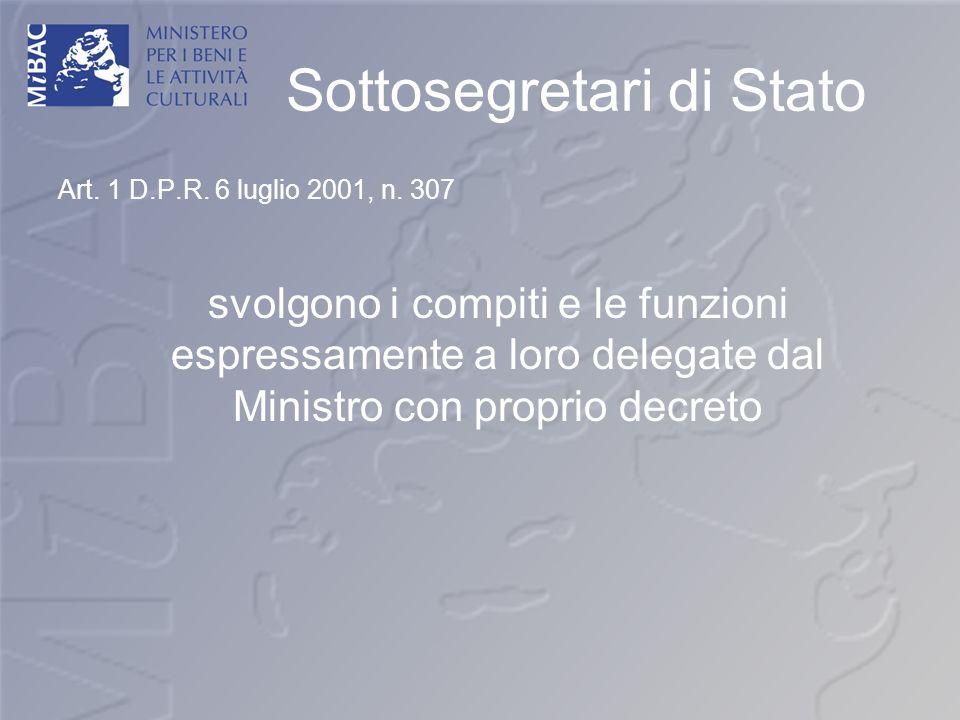 Sottosegretari di Stato Art. 1 D.P.R. 6 luglio 2001, n. 307 svolgono i compiti e le funzioni espressamente a loro delegate dal Ministro con proprio de