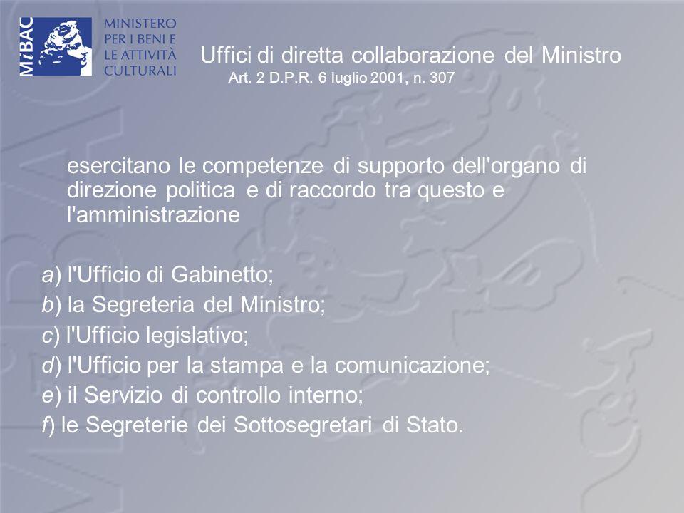 Uffici di diretta collaborazione del Ministro Art. 2 D.P.R. 6 luglio 2001, n. 307 esercitano le competenze di supporto dell'organo di direzione politi