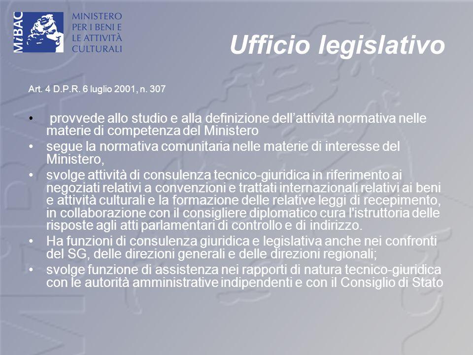 Ufficio legislativo Art. 4 D.P.R. 6 luglio 2001, n. 307 provvede allo studio e alla definizione dellattività normativa nelle materie di competenza del