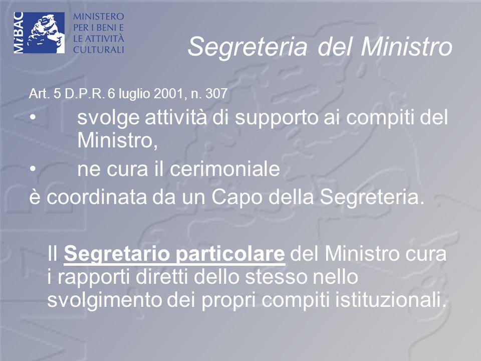 Segreteria del Ministro Art. 5 D.P.R. 6 luglio 2001, n. 307 svolge attività di supporto ai compiti del Ministro, ne cura il cerimoniale è coordinata d