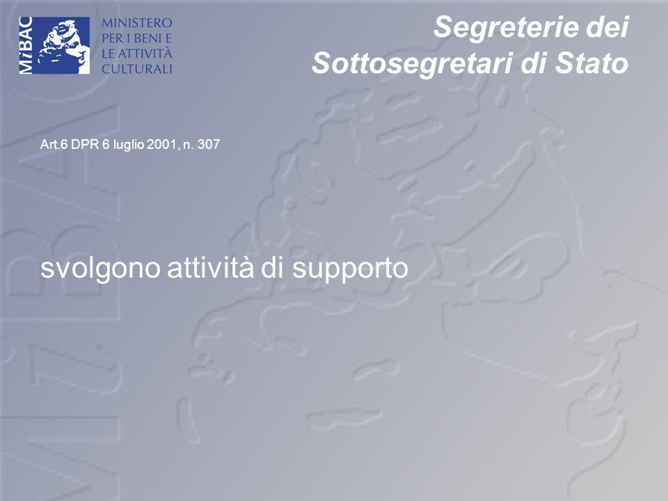Segreterie dei Sottosegretari di Stato Art.6 DPR 6 luglio 2001, n. 307 svolgono attività di supporto