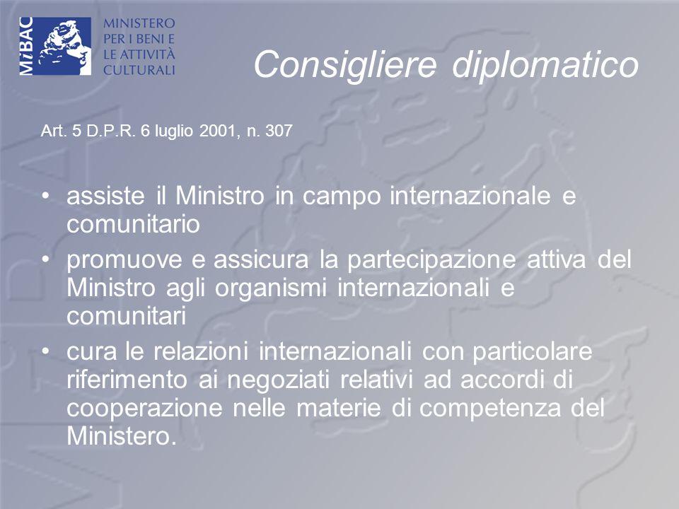 Consigliere diplomatico Art. 5 D.P.R. 6 luglio 2001, n. 307 assiste il Ministro in campo internazionale e comunitario promuove e assicura la partecipa