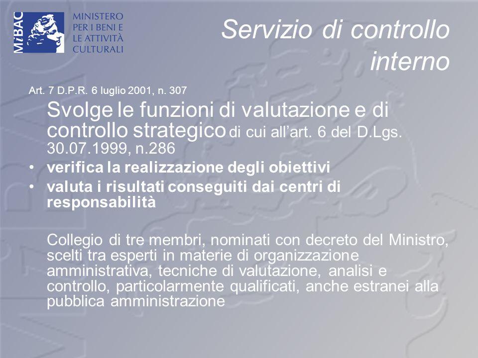 Servizio di controllo interno Art. 7 D.P.R. 6 luglio 2001, n. 307 Svolge le funzioni di valutazione e di controllo strategico di cui allart. 6 del D.L