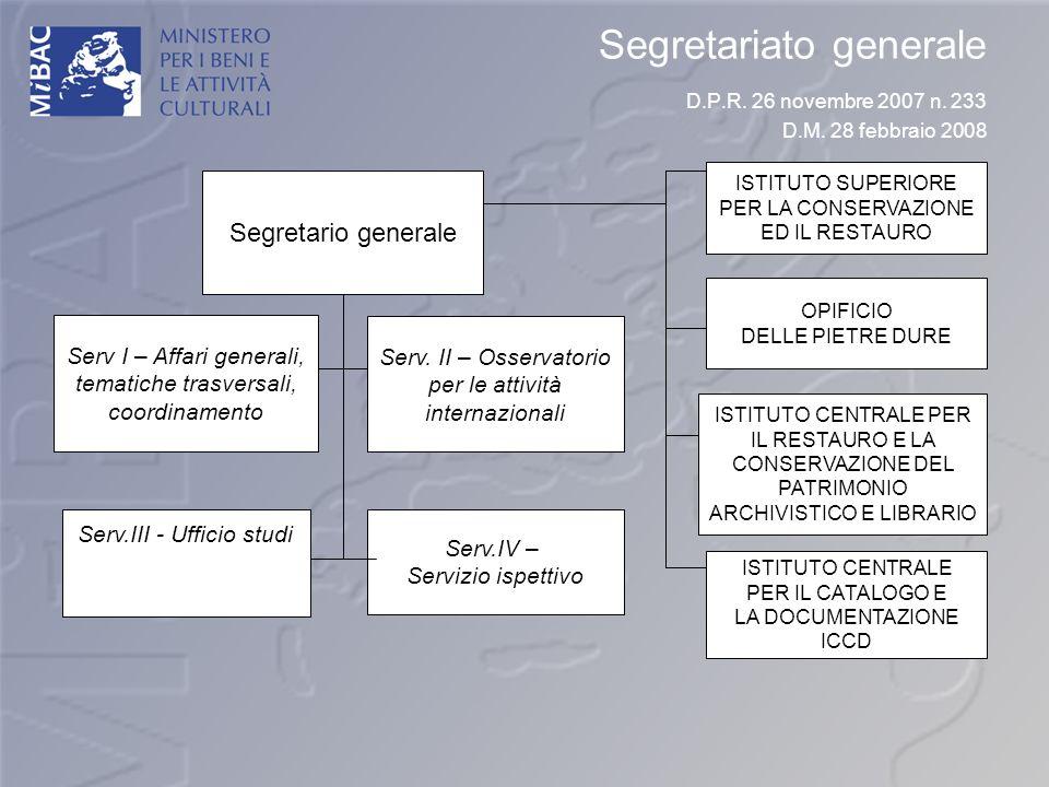 Segretariato generale D.P.R. 26 novembre 2007 n. 233 D.M. 28 febbraio 2008 Serv I – Affari generali, tematiche trasversali, coordinamento Serv. II – O