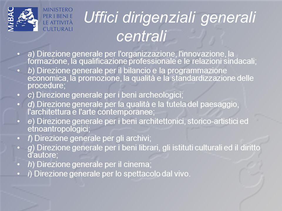 Uffici dirigenziali generali centrali a) Direzione generale per l'organizzazione, l'innovazione, la formazione, la qualificazione professionale e le r