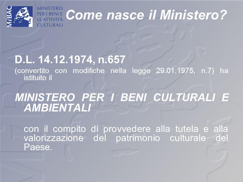 Come nasce il Ministero? D.L. 14.12.1974, n.657 (convertito con modifiche nella legge 29.01.1975, n.7) ha istituito il MINISTERO PER I BENI CULTURALI