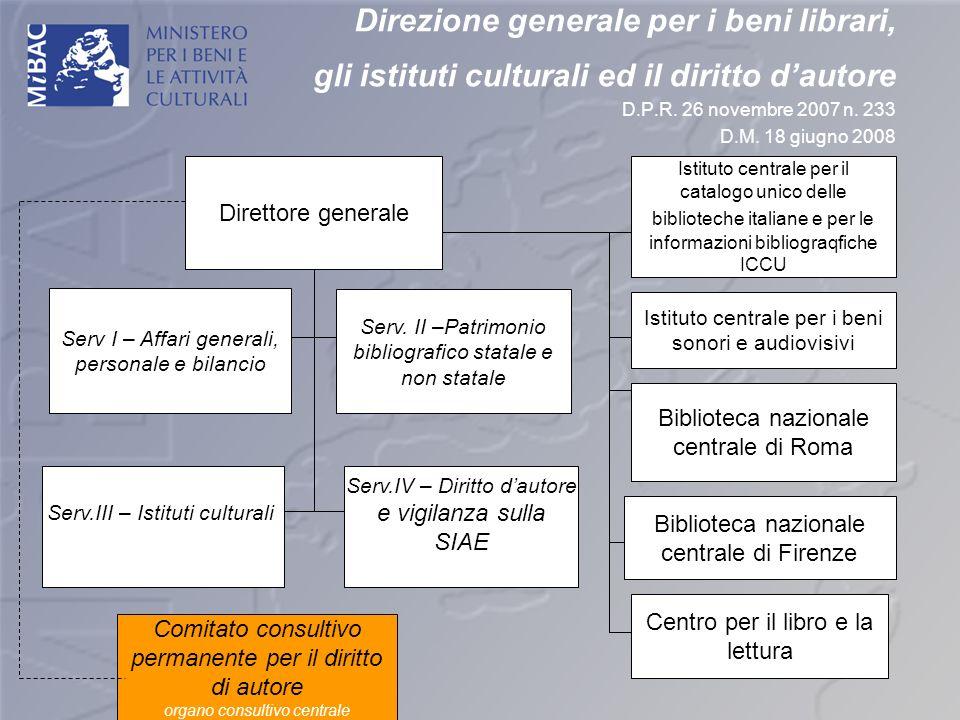 Direzione generale per i beni librari, gli istituti culturali ed il diritto dautore D.P.R. 26 novembre 2007 n. 233 D.M. 18 giugno 2008 Serv I – Affari