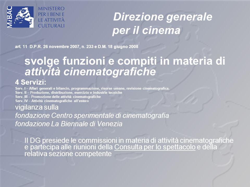 Direzione generale per il cinema art. 11 D.P.R. 26 novembre 2007, n. 233 e D.M. 18 giugno 2008 svolge funzioni e compiti in materia di attività cinema